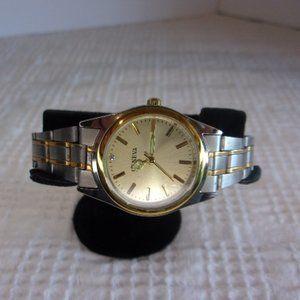 Geneva Gold Face Two Tone Band Wrist Watch
